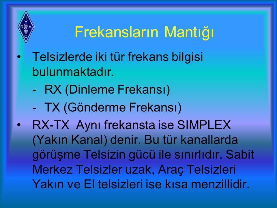 Frekansların Mantığı Telsizlerde iki tür frekans bilgisi bulunmaktadır. - RX (Dinleme Frekansı) - TX (Gönderme Frekansı)