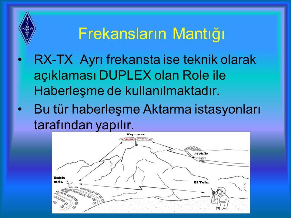 Frekansların Mantığı RX-TX Ayrı frekansta ise teknik olarak açıklaması DUPLEX olan Role ile Haberleşme de kullanılmaktadır.