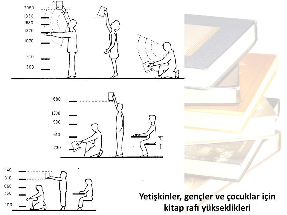 Yetişkinler, gençler ve çocuklar için kitap rafı yükseklikleri