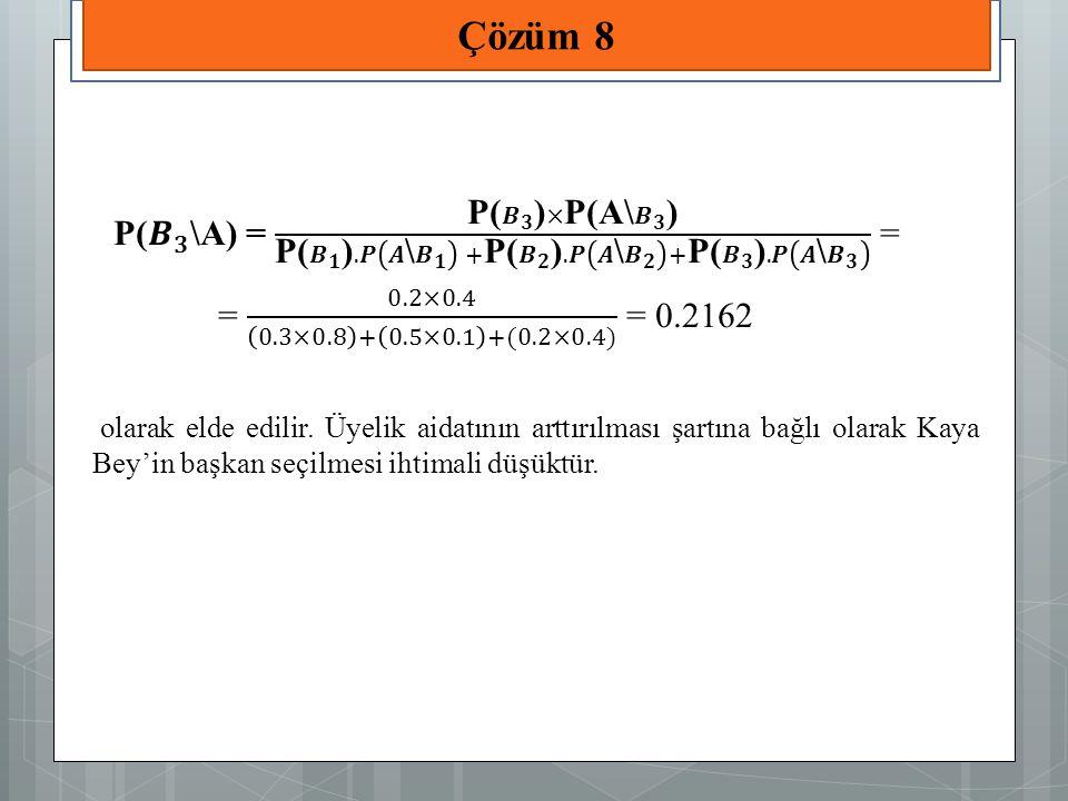 Çözüm 8 P( 𝑩 𝟑 \A) = P( 𝑩 𝟑 )×P(A\ 𝑩 𝟑 ) P( 𝑩 𝟏 ).𝑷 𝑨\ 𝑩 𝟏 +P( 𝑩 𝟐 ).𝑷 𝑨\ 𝑩 𝟐 +P( 𝑩 𝟑 ).𝑷 𝑨\ 𝑩 𝟑 =