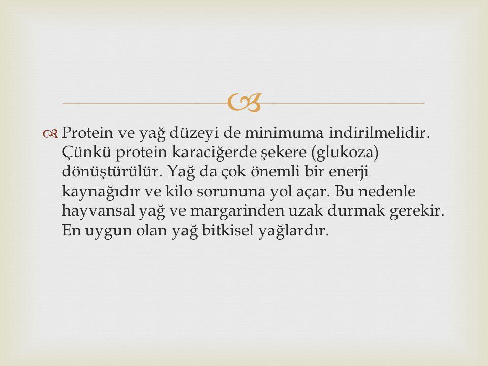 Protein ve yağ düzeyi de minimuma indirilmelidir