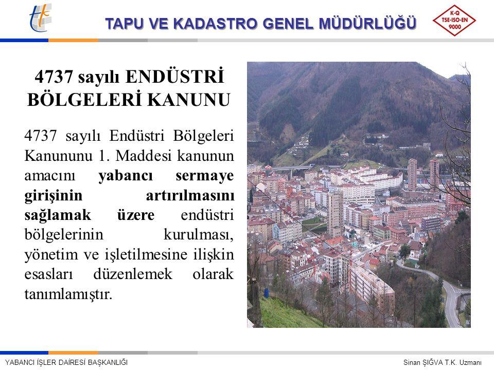 4737 sayılı ENDÜSTRİ BÖLGELERİ KANUNU