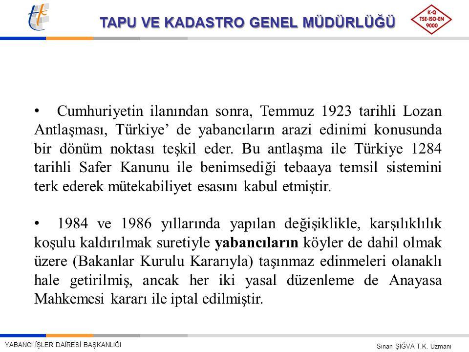 Cumhuriyetin ilanından sonra, Temmuz 1923 tarihli Lozan Antlaşması, Türkiye' de yabancıların arazi edinimi konusunda bir dönüm noktası teşkil eder. Bu antlaşma ile Türkiye 1284 tarihli Safer Kanunu ile benimsediği tebaaya temsil sistemini terk ederek mütekabiliyet esasını kabul etmiştir.