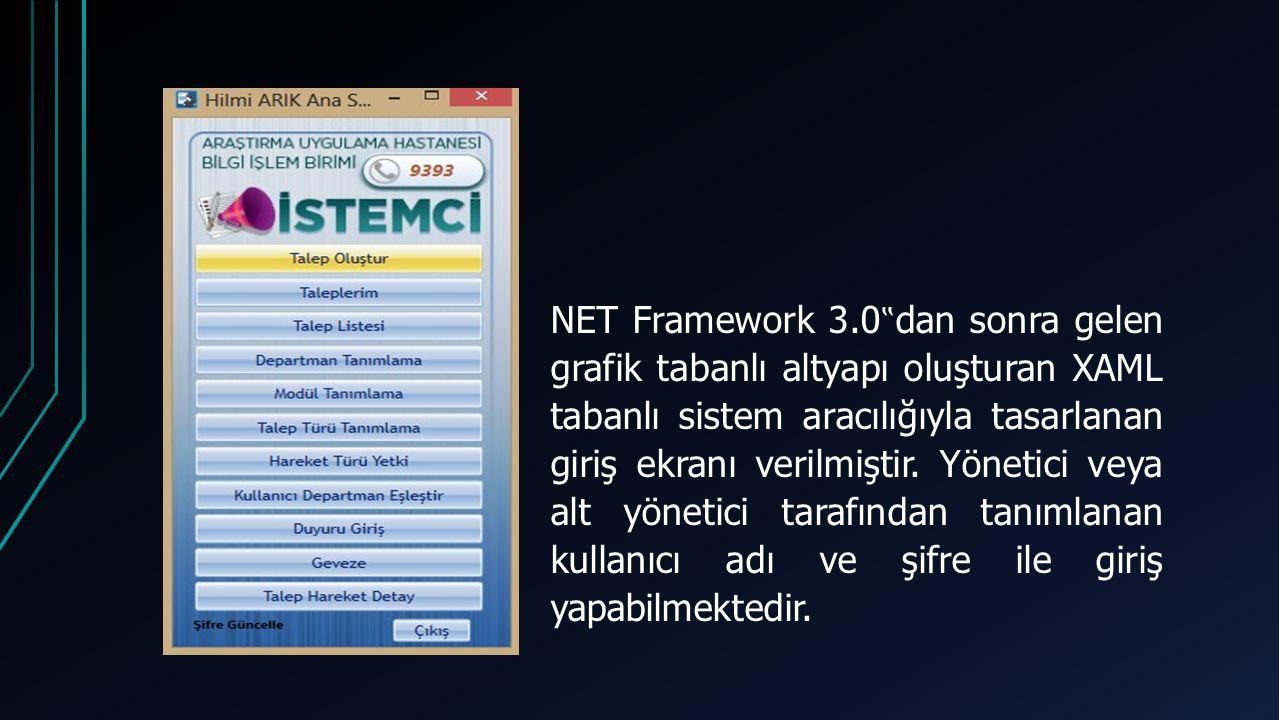 """NET Framework 3.0""""dan sonra gelen grafik tabanlı altyapı oluşturan XAML tabanlı sistem aracılığıyla tasarlanan giriş ekranı verilmiştir."""