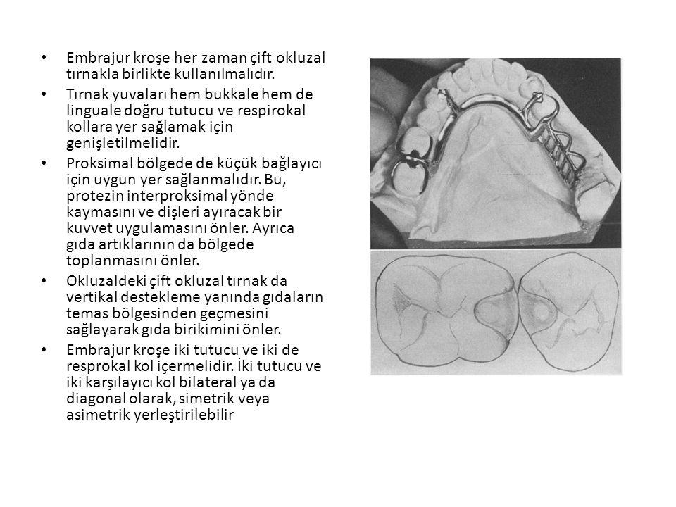 Embrajur kroşe her zaman çift okluzal tırnakla birlikte kullanılmalıdır.