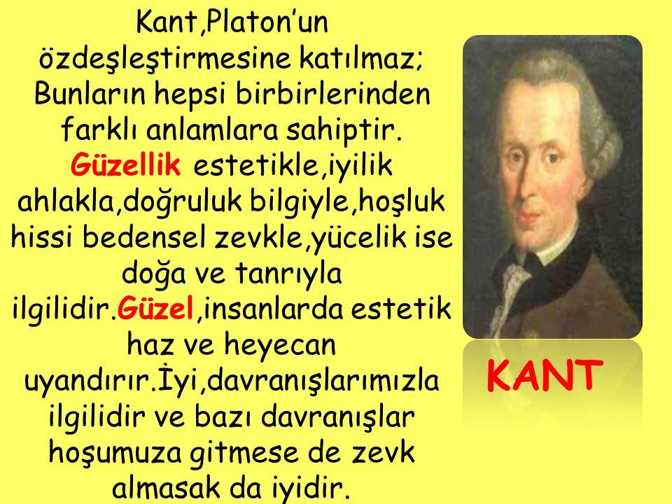 Kant,Platon'un özdeşleştirmesine katılmaz;