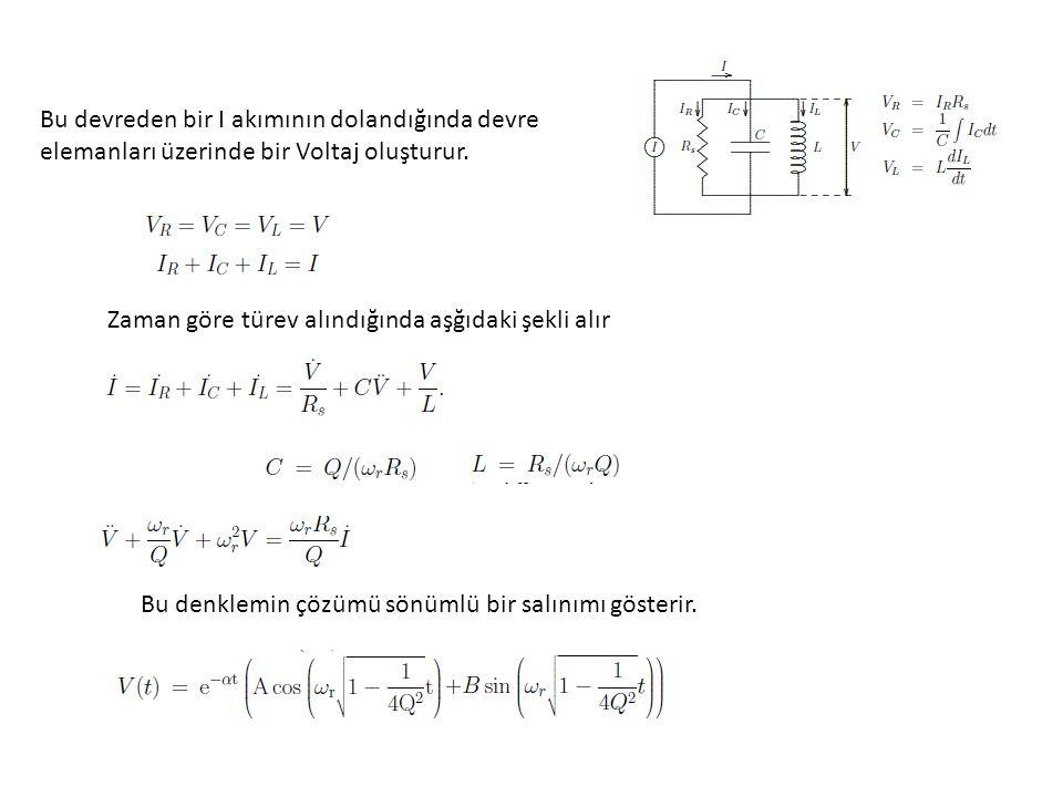 Bu devreden bir I akımının dolandığında devre elemanları üzerinde bir Voltaj oluşturur.