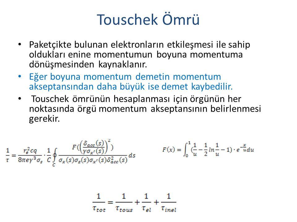 Touschek Ömrü Paketçikte bulunan elektronların etkileşmesi ile sahip oldukları enine momentumun boyuna momentuma dönüşmesinden kaynaklanır.
