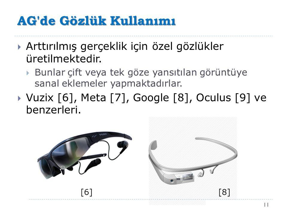 AG de Gözlük Kullanımı Arttırılmış gerçeklik için özel gözlükler üretilmektedir.