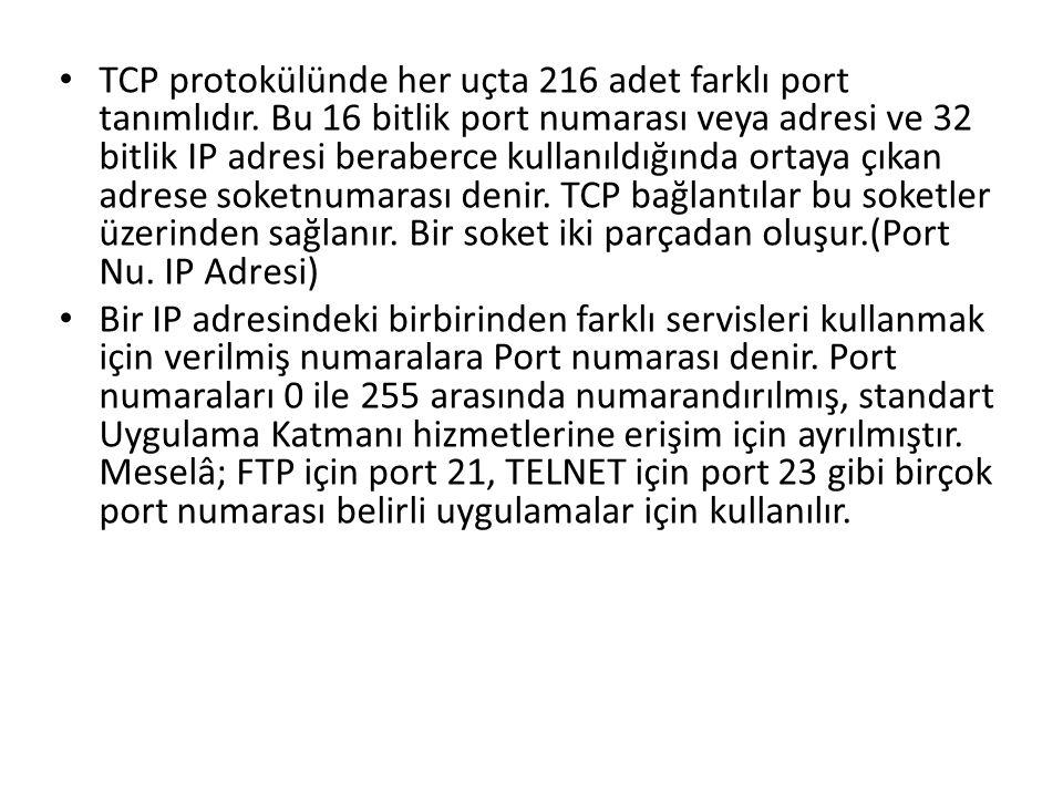 TCP protokülünde her uçta 216 adet farklı port tanımlıdır