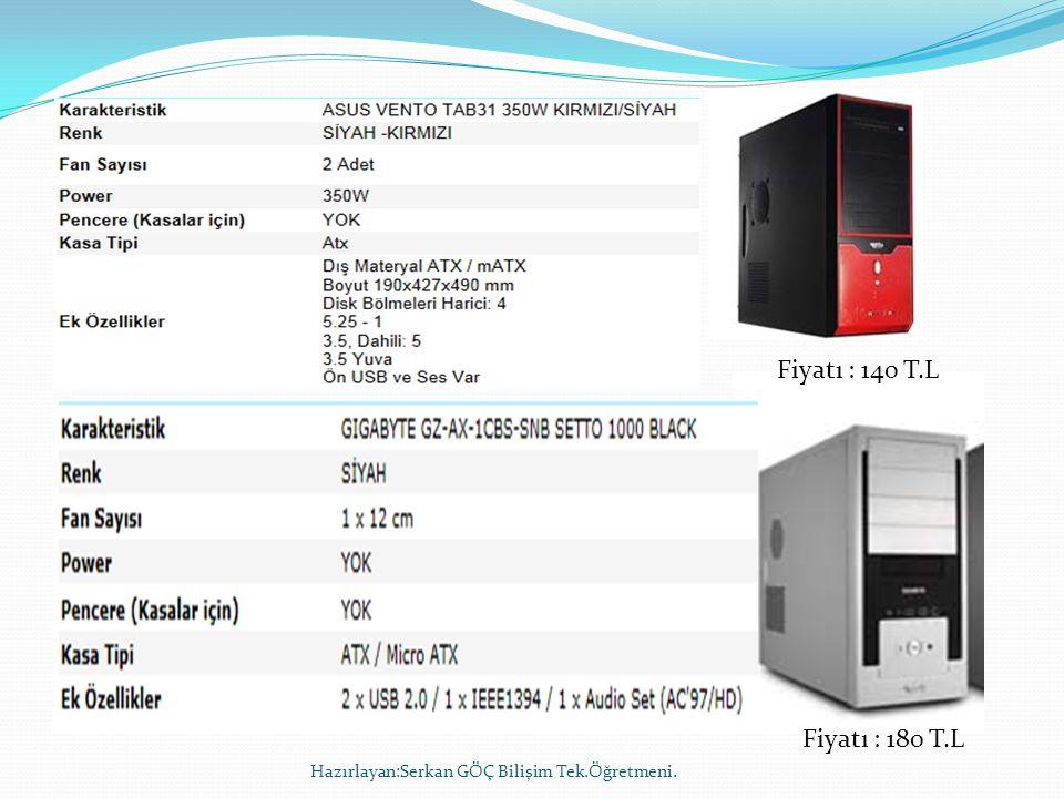 Fiyatı : 140 T.L Fiyatı : 180 T.L Hazırlayan:Serkan GÖÇ Bilişim Tek.Öğretmeni.