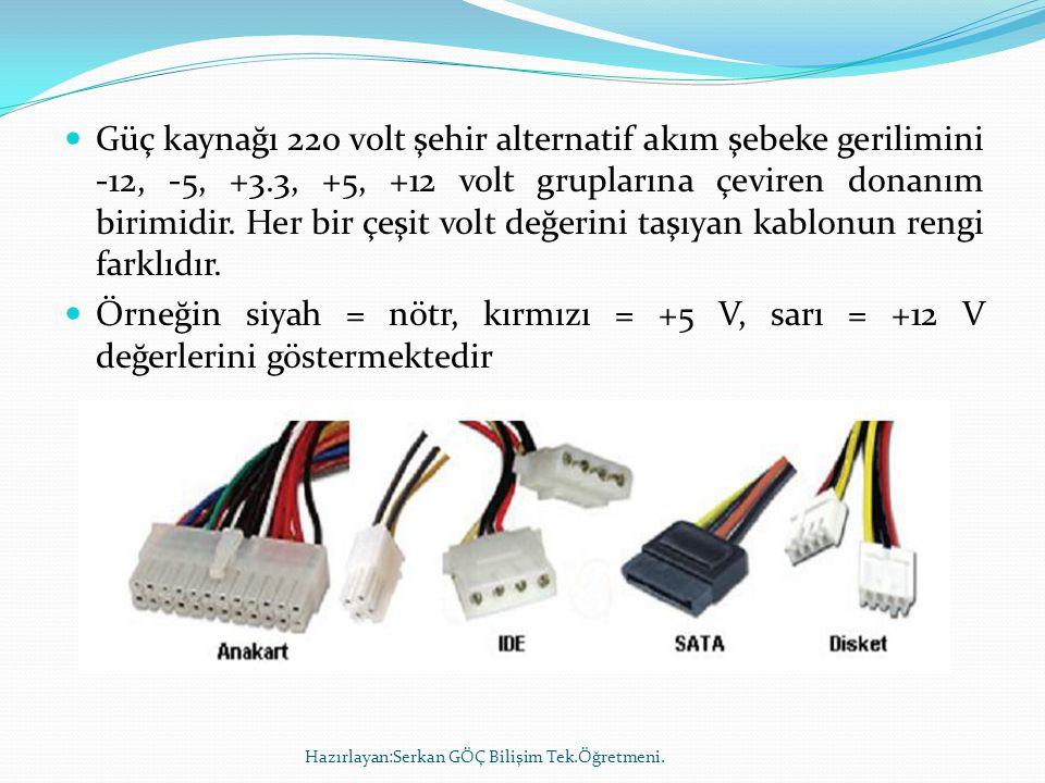 Güç kaynağı 220 volt şehir alternatif akım şebeke gerilimini -12, -5, +3.3, +5, +12 volt gruplarına çeviren donanım birimidir. Her bir çeşit volt değerini taşıyan kablonun rengi farklıdır.