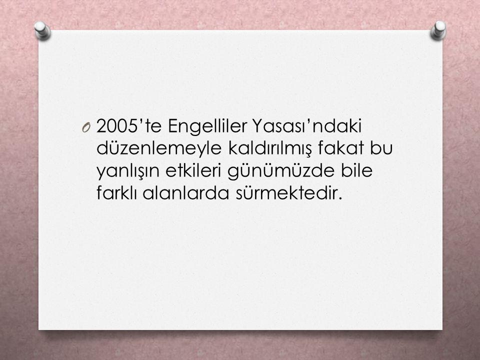 2005'te Engelliler Yasası'ndaki düzenlemeyle kaldırılmış fakat bu yanlışın etkileri günümüzde bile farklı alanlarda sürmektedir.