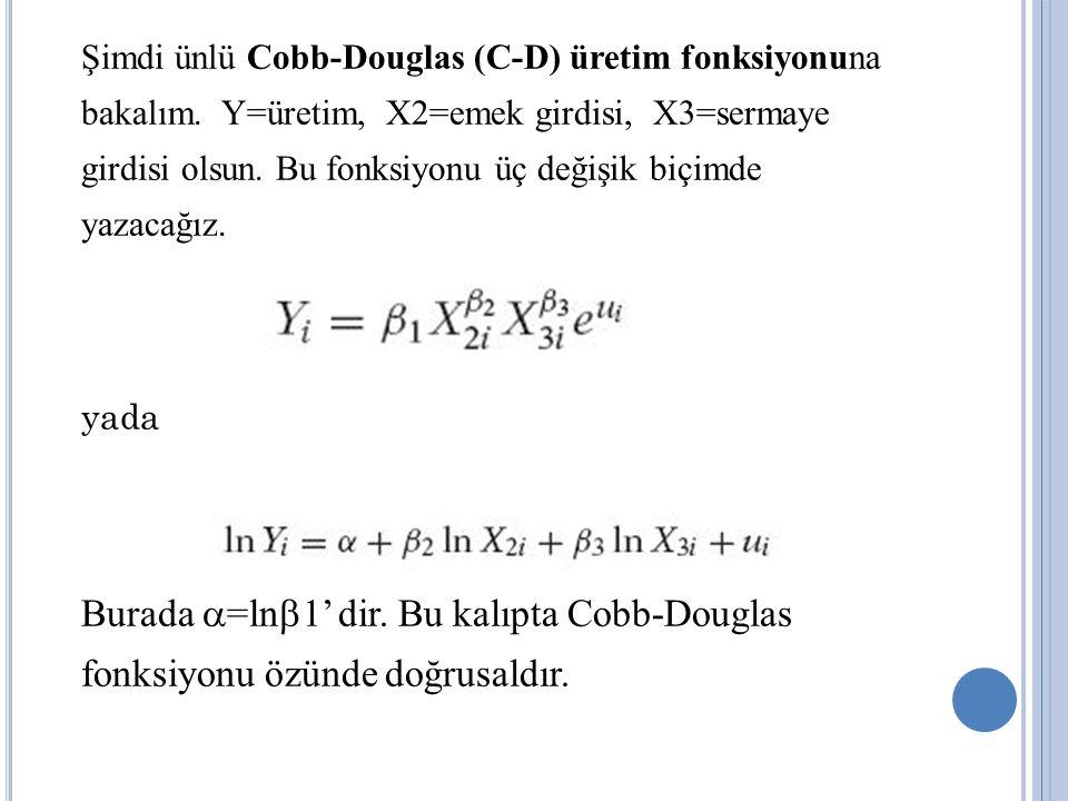 Şimdi ünlü Cobb-Douglas (C-D) üretim fonksiyonuna bakalım