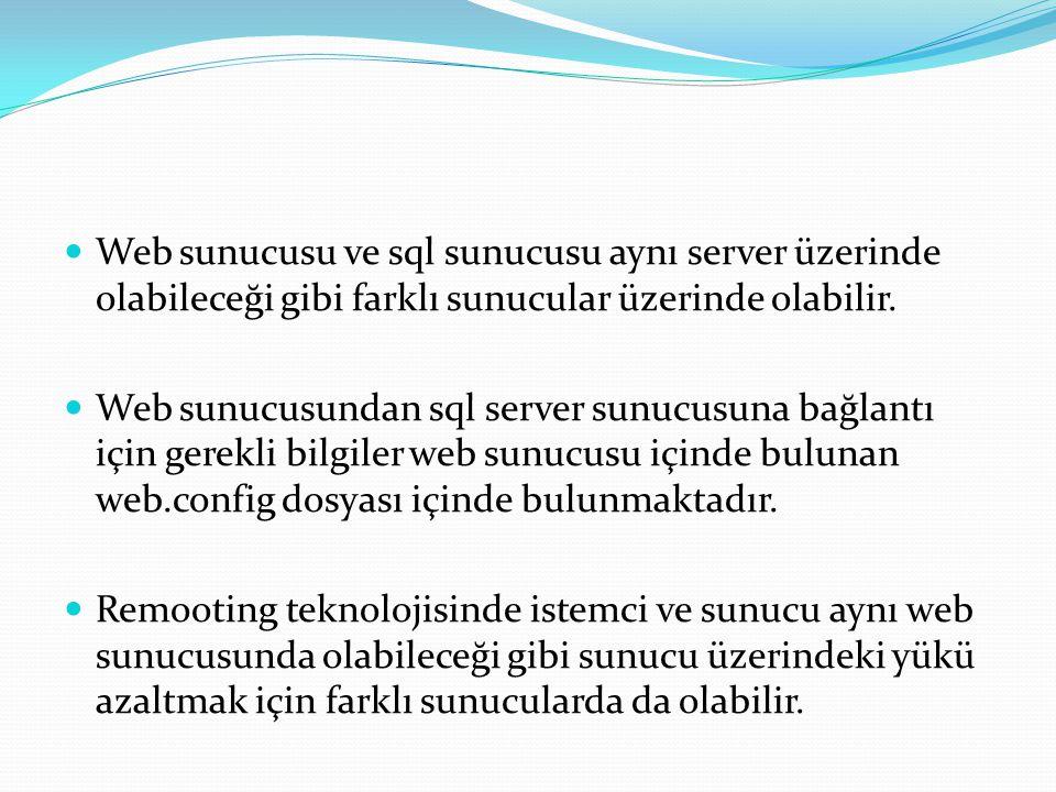 Web sunucusu ve sql sunucusu aynı server üzerinde olabileceği gibi farklı sunucular üzerinde olabilir.