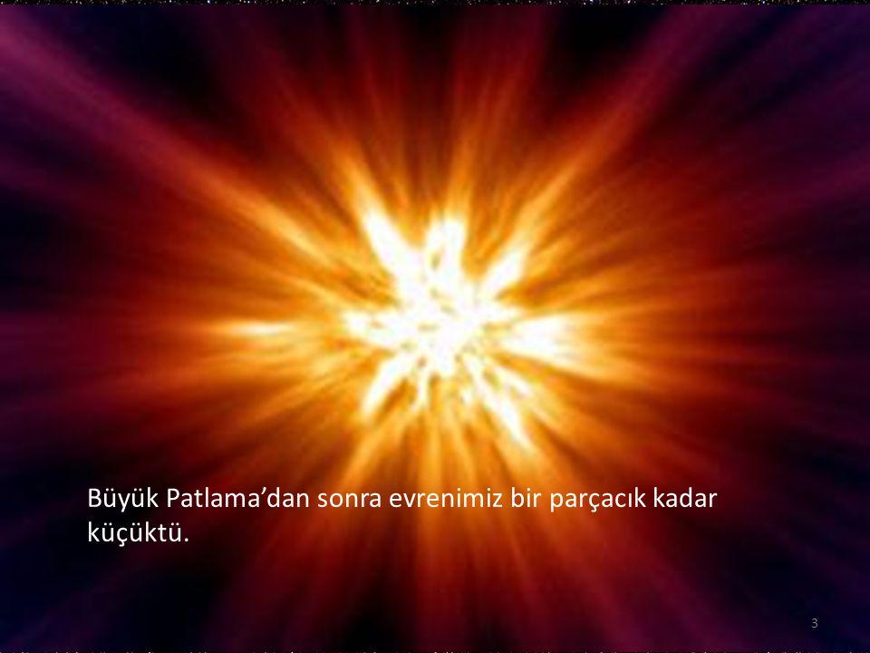 Büyük Patlama'dan sonra evrenimiz bir parçacık kadar küçüktü.