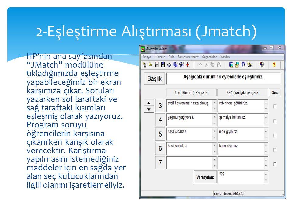 2-Eşleştirme Alıştırması (Jmatch)
