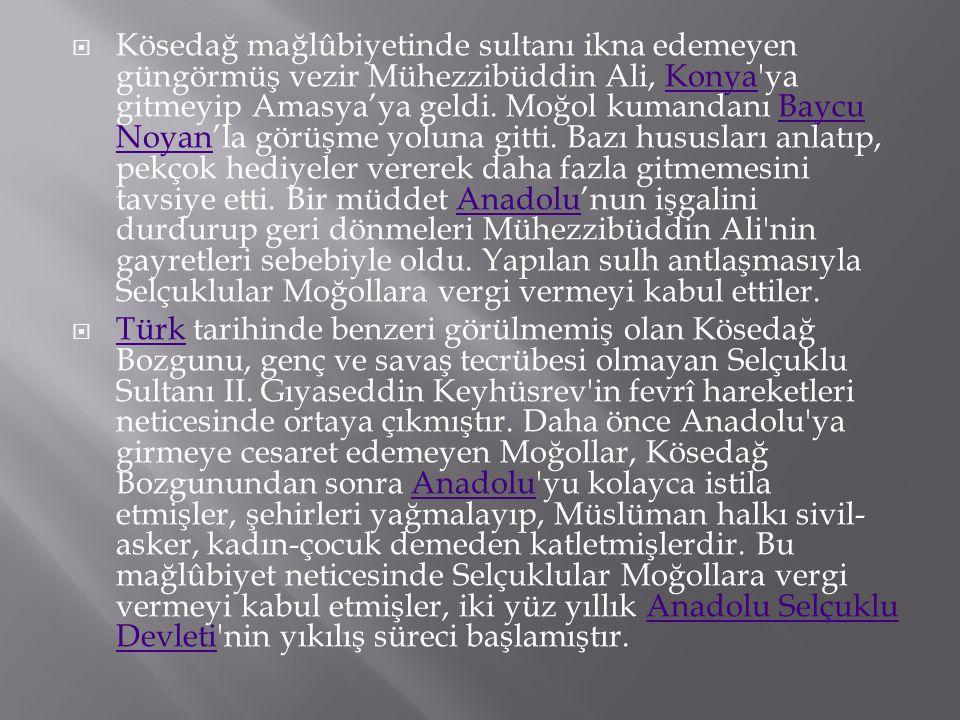 Kösedağ mağlûbiyetinde sultanı ikna edemeyen güngörmüş vezir Mühezzibüddin Ali, Konya ya gitmeyip Amasya'ya geldi. Moğol kumandanı Baycu Noyan'la görüşme yoluna gitti. Bazı hususları anlatıp, pekçok hediyeler vererek daha fazla gitmemesini tavsiye etti. Bir müddet Anadolu'nun işgalini durdurup geri dönmeleri Mühezzibüddin Ali nin gayretleri sebebiyle oldu. Yapılan sulh antlaşmasıyla Selçuklular Moğollara vergi vermeyi kabul ettiler.