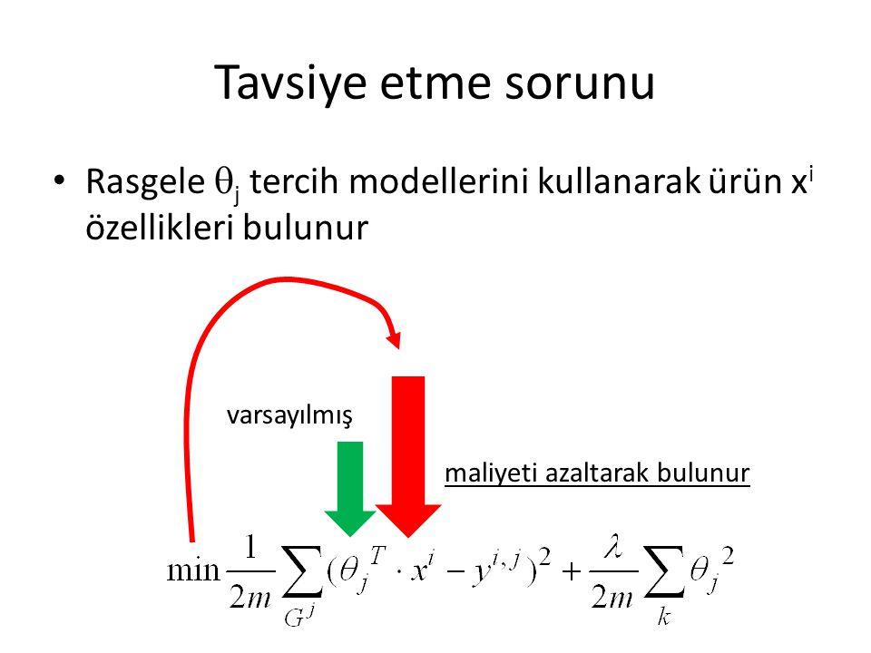 Tavsiye etme sorunu Rasgele j tercih modellerini kullanarak ürün xi özellikleri bulunur. varsayılmış.