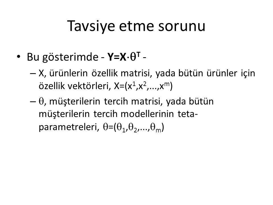 Tavsiye etme sorunu Bu gösterimde - Y=XT -