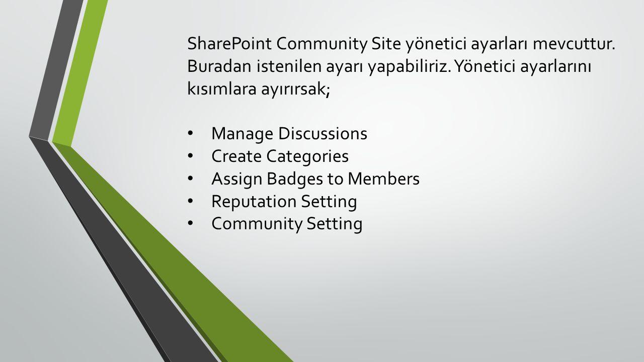 SharePoint Community Site yönetici ayarları mevcuttur
