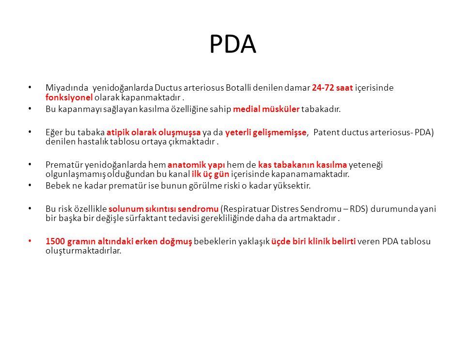 PDA Miyadında yenidoğanlarda Ductus arteriosus Botalli denilen damar 24-72 saat içerisinde fonksiyonel olarak kapanmaktadır .