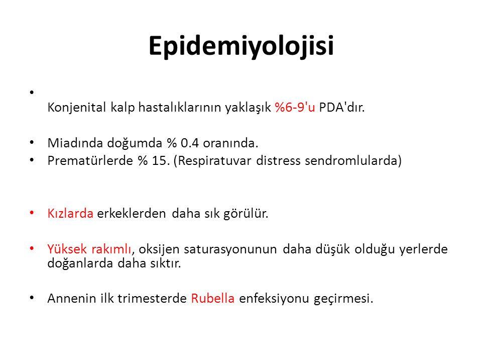 Epidemiyolojisi Konjenital kalp hastalıklarının yaklaşık %6-9 u PDA dır. Miadında doğumda % 0.4 oranında.