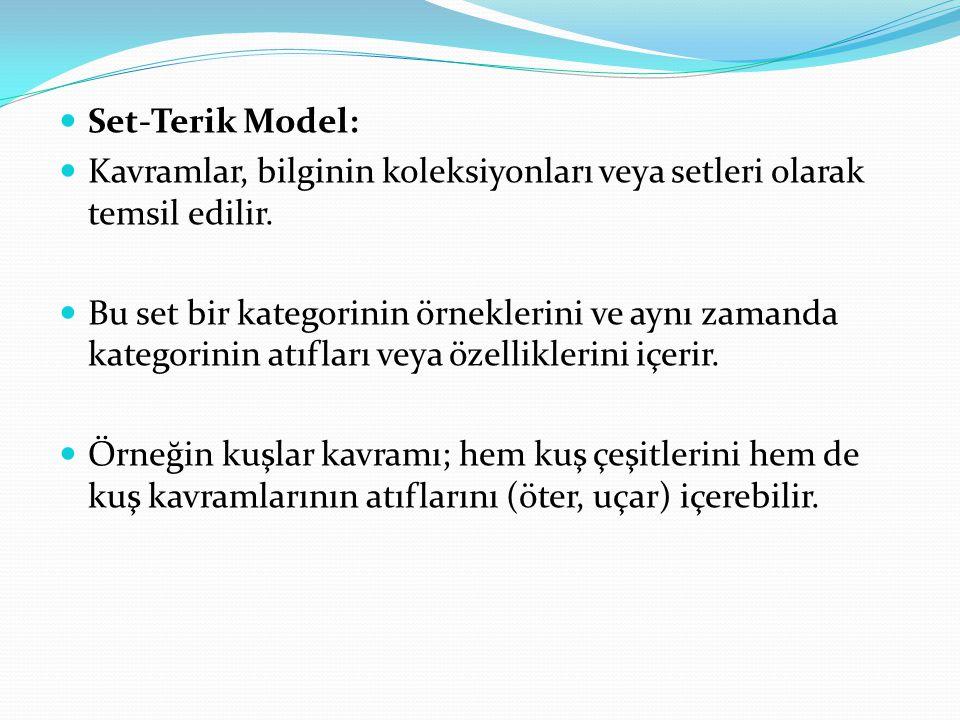 Set-Terik Model: Kavramlar, bilginin koleksiyonları veya setleri olarak temsil edilir.