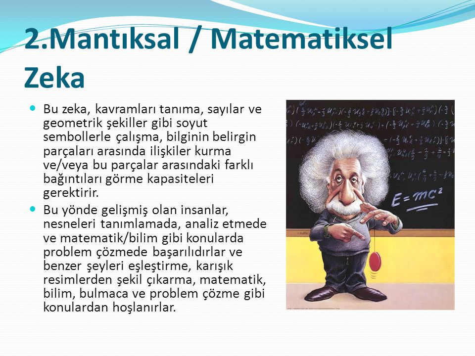 2.Mantıksal / Matematiksel Zeka