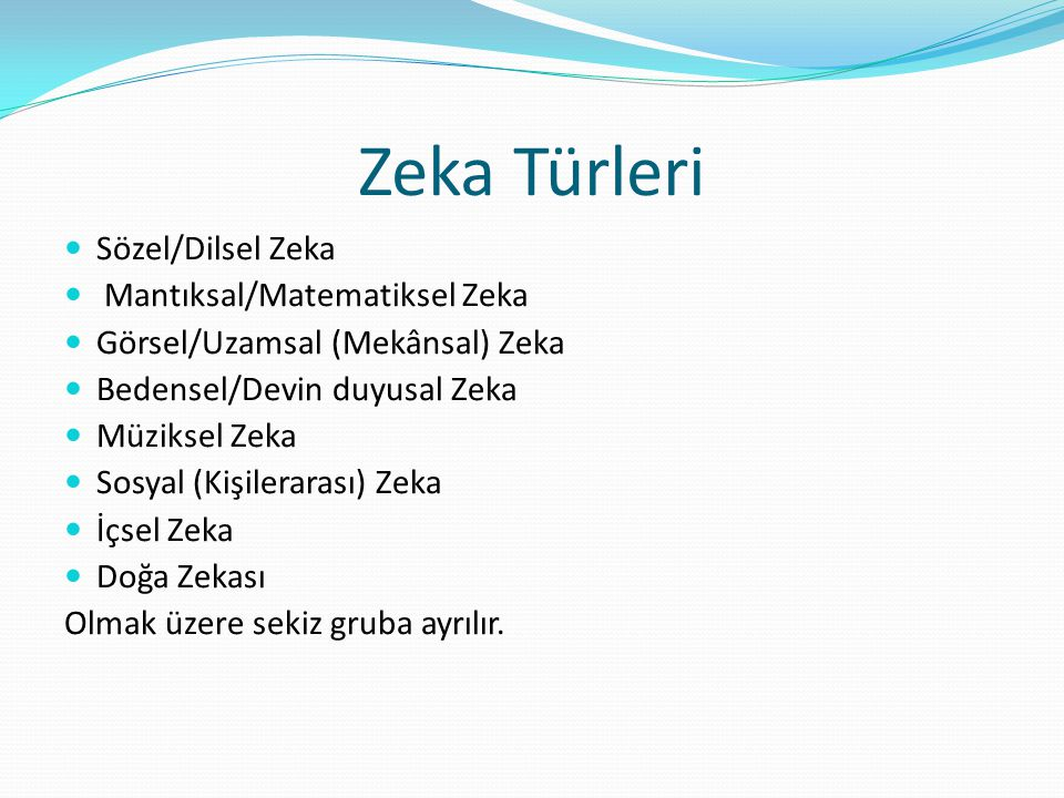 Zeka Türleri Sözel/Dilsel Zeka Mantıksal/Matematiksel Zeka