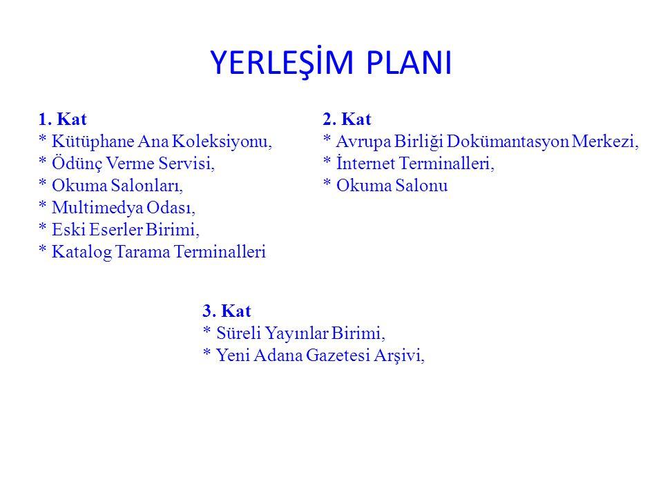 YERLEŞİM PLANI 1. Kat * Kütüphane Ana Koleksiyonu,