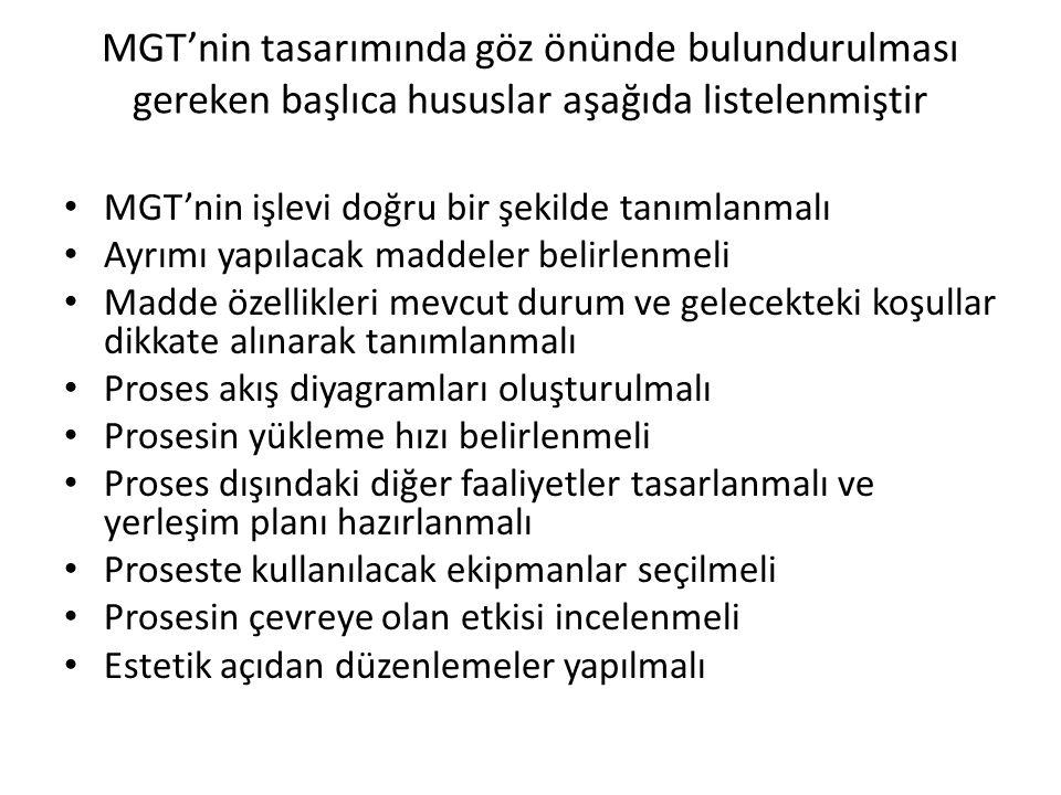 MGT'nin tasarımında göz önünde bulundurulması gereken başlıca hususlar aşağıda listelenmiştir
