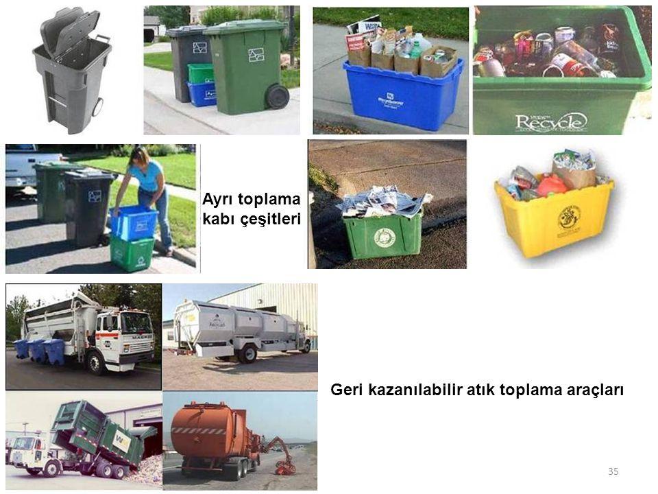 Ayrı toplama kabı çeşitleri Geri kazanılabilir atık toplama araçları