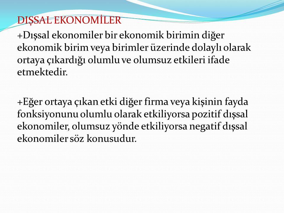 DIŞSAL EKONOMİLER +Dışsal ekonomiler bir ekonomik birimin diğer ekonomik birim veya birimler üzerinde dolaylı olarak ortaya çıkardığı olumlu ve olumsuz etkileri ifade etmektedir.