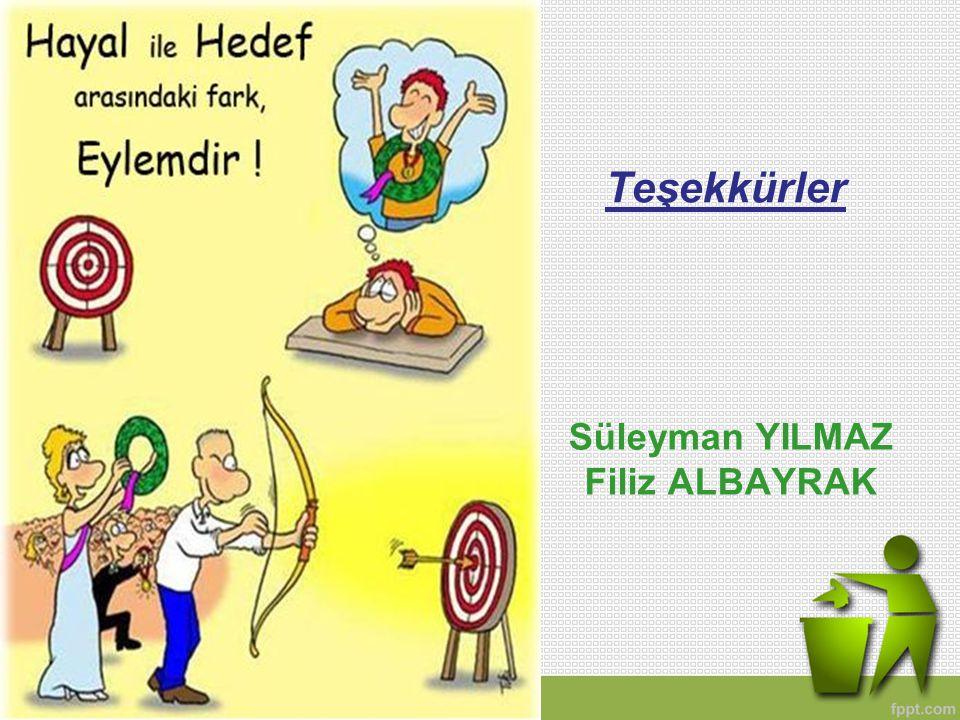 Teşekkürler Süleyman YILMAZ Filiz ALBAYRAK