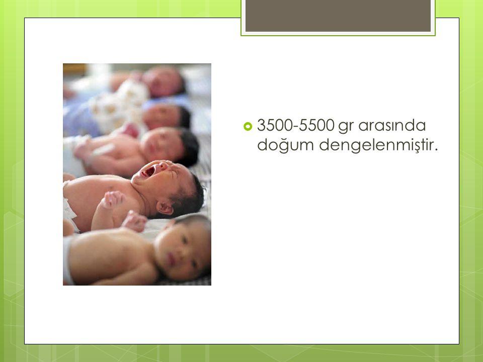 3500-5500 gr arasında doğum dengelenmiştir.