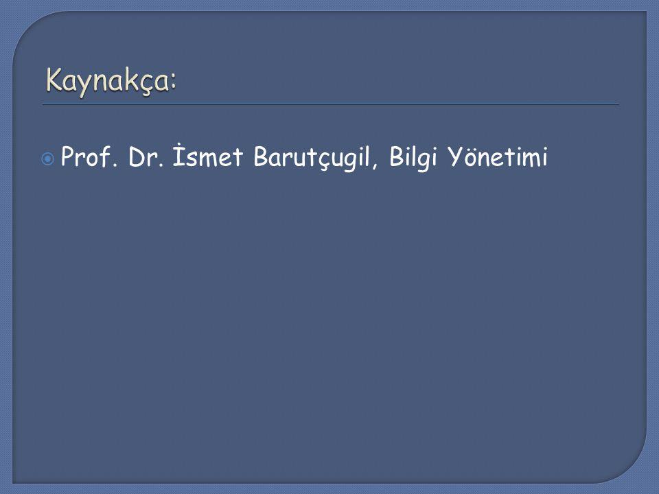 Kaynakça: Prof. Dr. İsmet Barutçugil, Bilgi Yönetimi