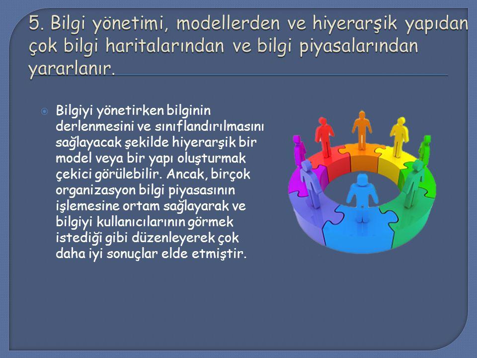 5. Bilgi yönetimi, modellerden ve hiyerarşik yapıdan çok bilgi haritalarından ve bilgi piyasalarından yararlanır.