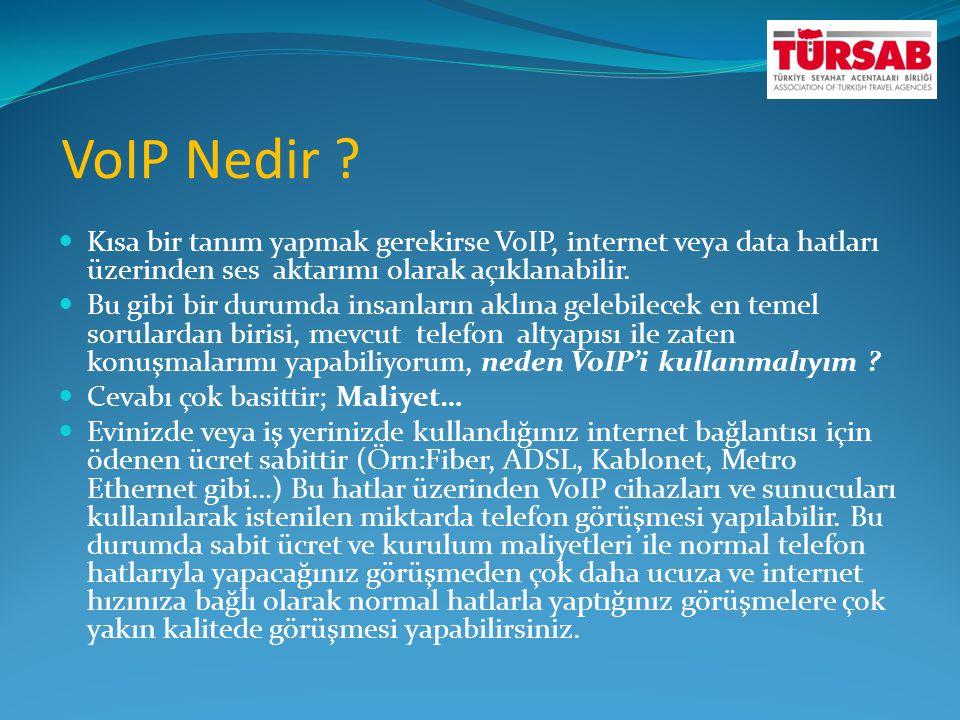 VoIP Nedir Kısa bir tanım yapmak gerekirse VoIP, internet veya data hatları üzerinden ses aktarımı olarak açıklanabilir.