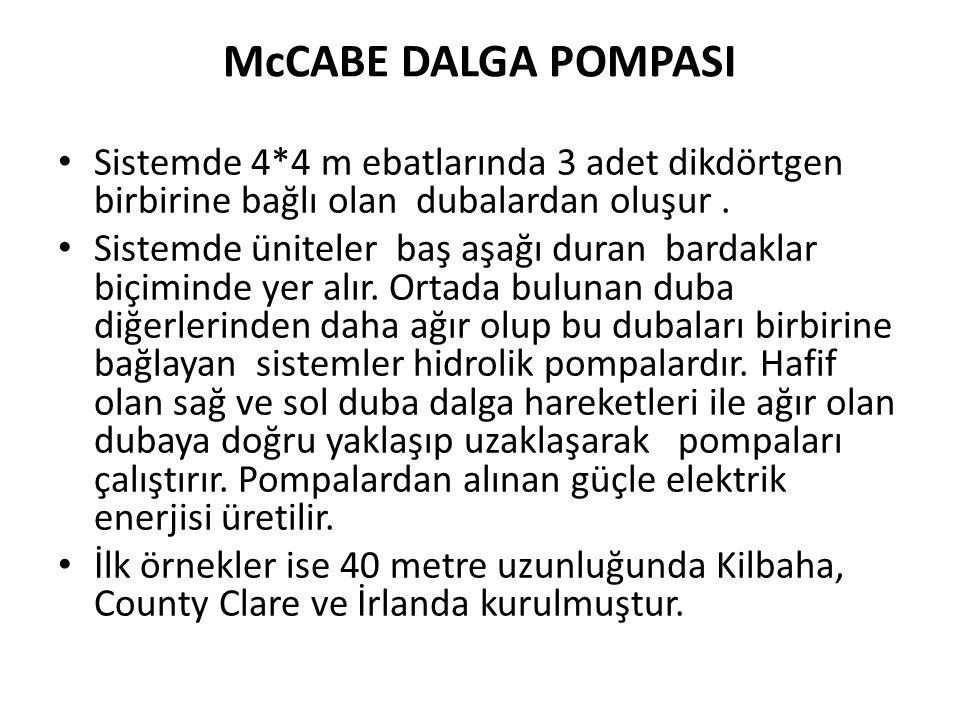 McCABE DALGA POMPASI Sistemde 4*4 m ebatlarında 3 adet dikdörtgen birbirine bağlı olan dubalardan oluşur .