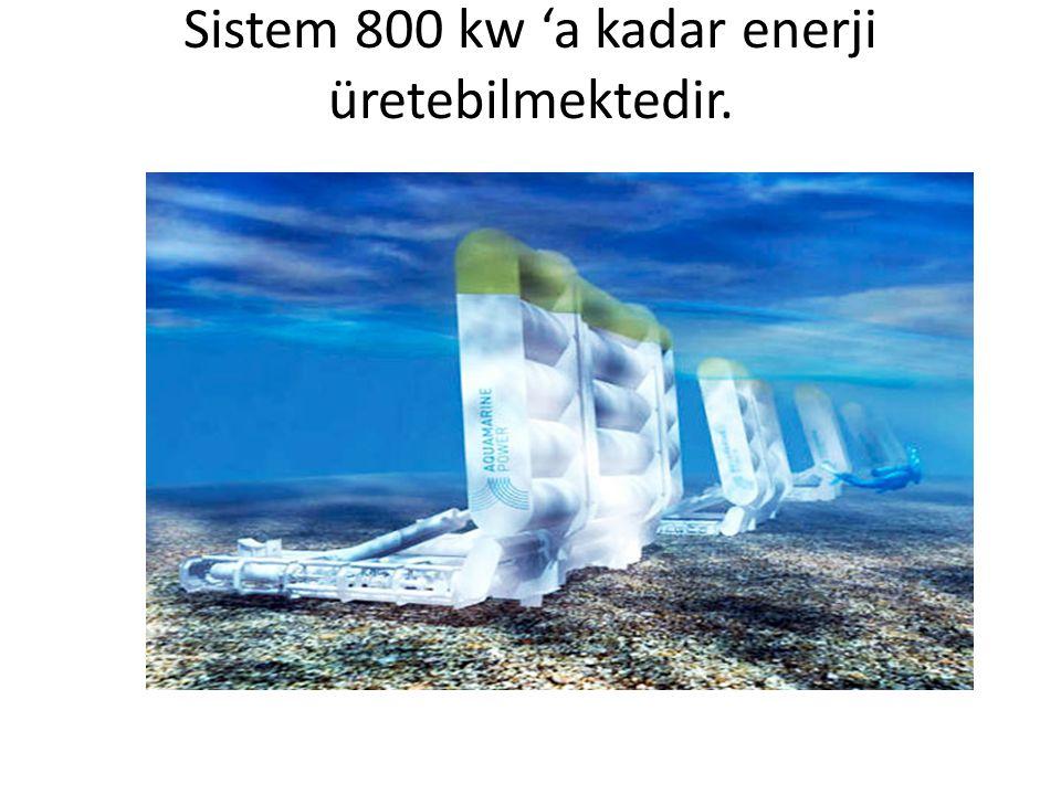 Sistem 800 kw 'a kadar enerji üretebilmektedir.