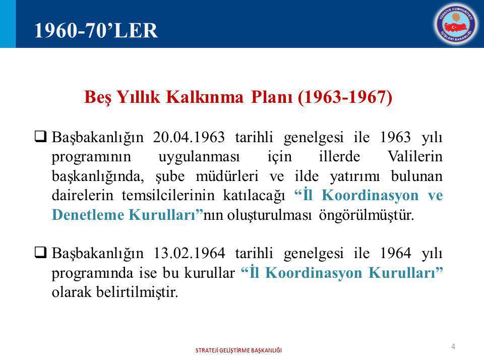 Beş Yıllık Kalkınma Planı (1963-1967) STRATEJİ GELİŞTİRME BAŞKANLIĞI