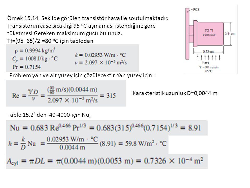 Örnek 15.14. Şekilde görülen transistör hava ile soutulmaktadır.