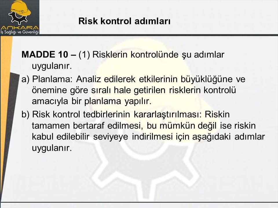 Risk kontrol adımları