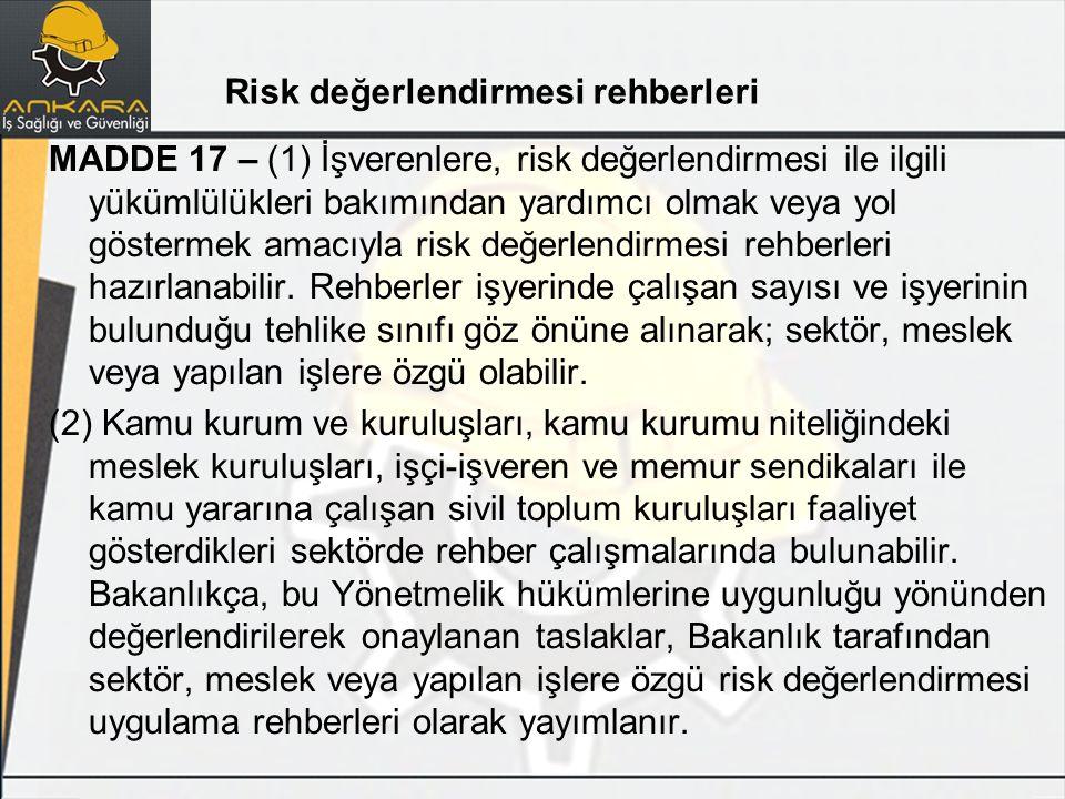 Risk değerlendirmesi rehberleri