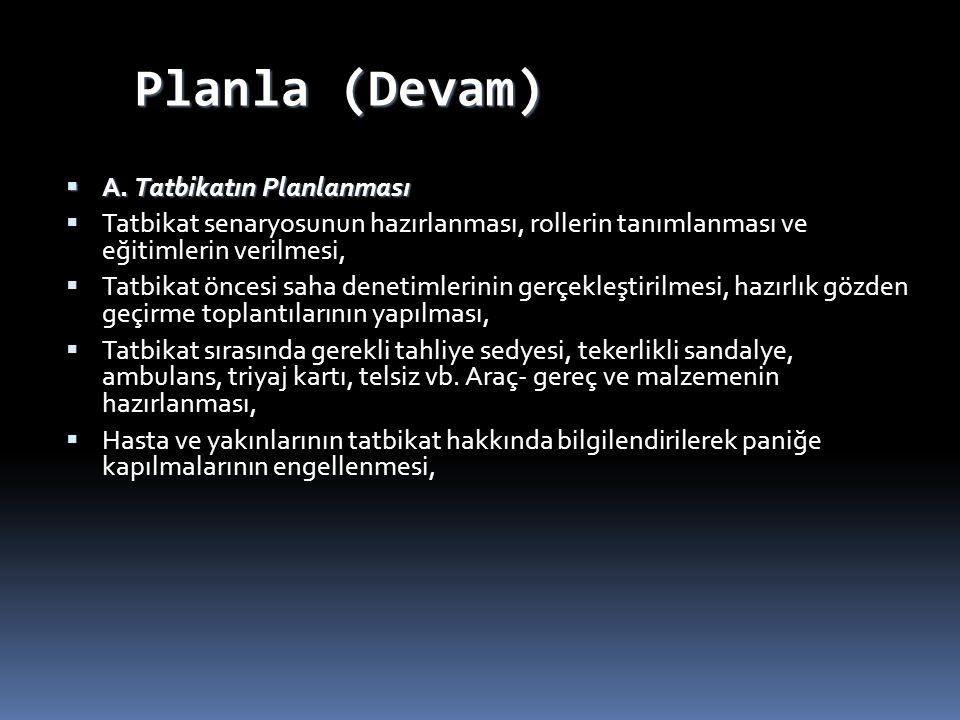 Planla (Devam) A. Tatbikatın Planlanması