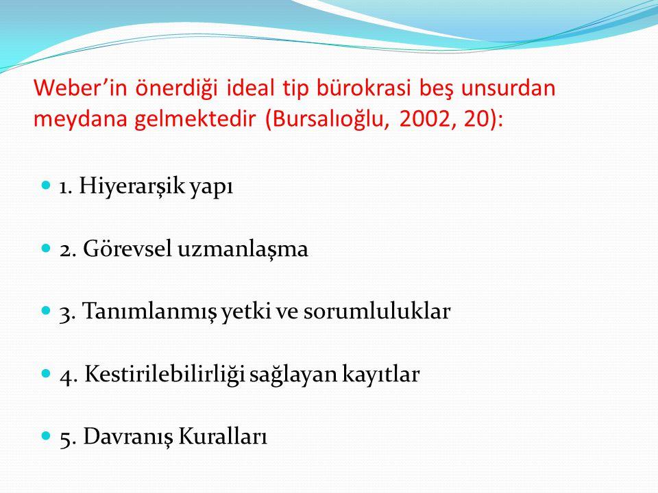 Weber'in önerdiği ideal tip bürokrasi beş unsurdan meydana gelmektedir (Bursalıoğlu, 2002, 20):