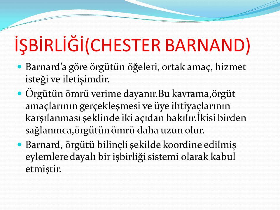 İŞBİRLİĞİ(CHESTER BARNAND)