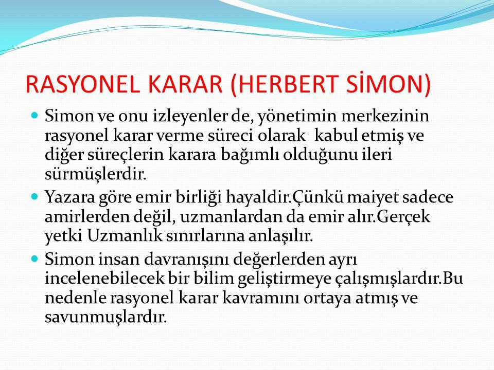 RASYONEL KARAR (HERBERT SİMON)