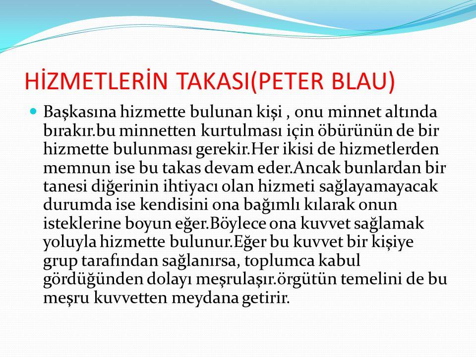HİZMETLERİN TAKASI(PETER BLAU)